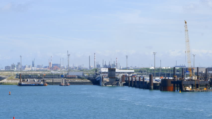 Ferry docks facilities in the port of Dunkirk, France