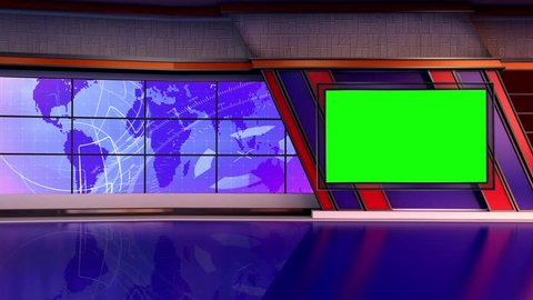 Purple and Blue colored rotating globe in background window for News best TV Program seamless loopable HD Video