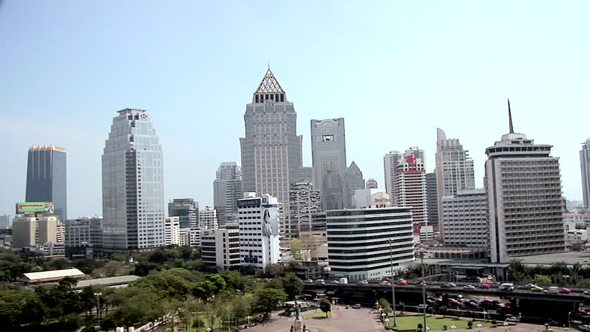 BANGKOK, THAILAND - CIRCA FEBRUARY 2009: Skyline of Buildings in Silom and Sathon District | Shutterstock HD Video #3325436