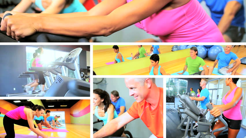Multiple montage images people following healthy fitness and exercise lifestyle using modern gym equipment