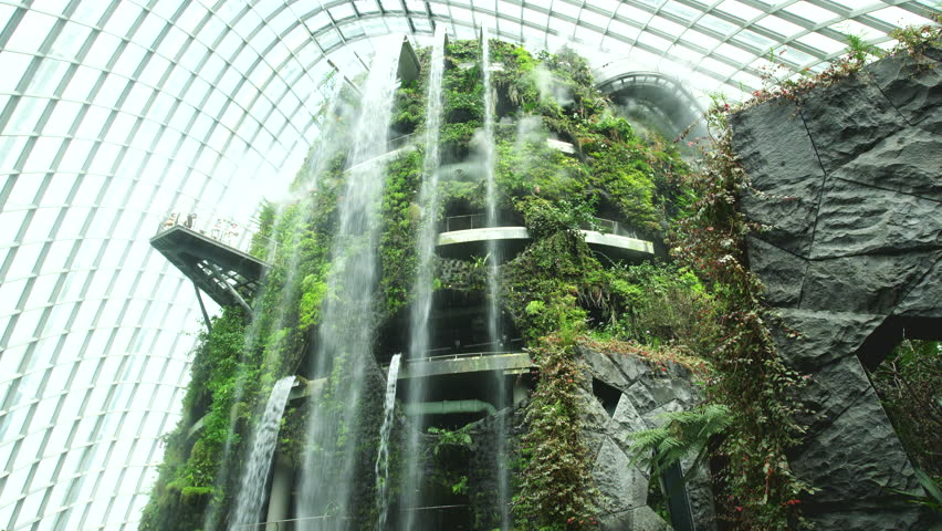 SINGAPORE - FEBRUARY 28, 2013: waterfall in the cloud forest, gardens by the bay