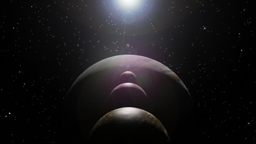 Animation of a sunrise on Jupiter with moons aligned