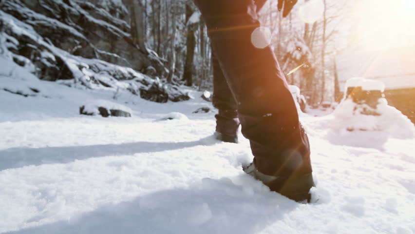 Snow hiking walking foot steps feet | Shutterstock HD Video #33329215