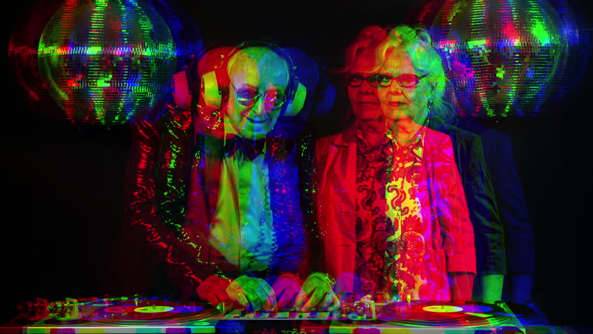 an amazing grandma and grandpa, older couple djing and partying in a disco setting. this version has overlayed video distortion and glitch effects