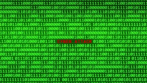 Wall of Green Binary Code Revealing CYBER ATTACK Word Between Random Binary Data Matrix Background