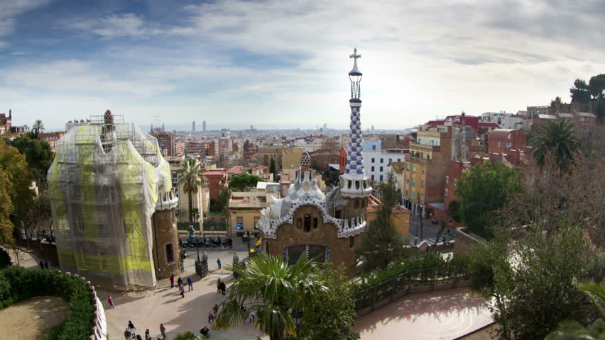 Timelapse of the barcelona skyline shot from parc guell
