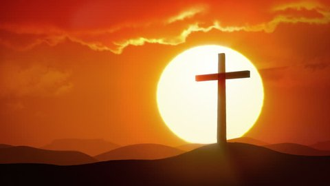 The Risen Christ - sun rises over desert and silhouette of crucifix