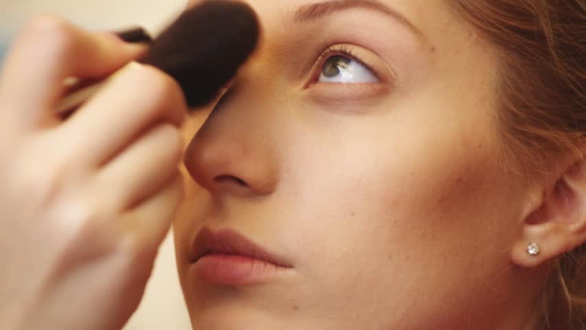 Professional Makeup Artist Applying Makeup Stock Footage Video