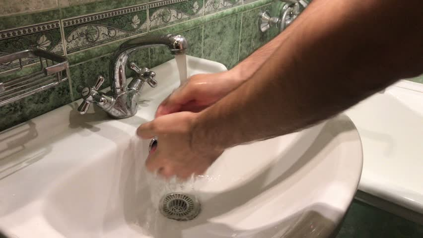 Stock video of washing hands. man use right hand | 17723068 ...