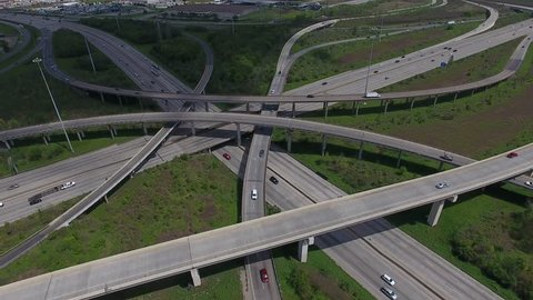 Houston highway bridge, Texas, aerial video, cars, freeway