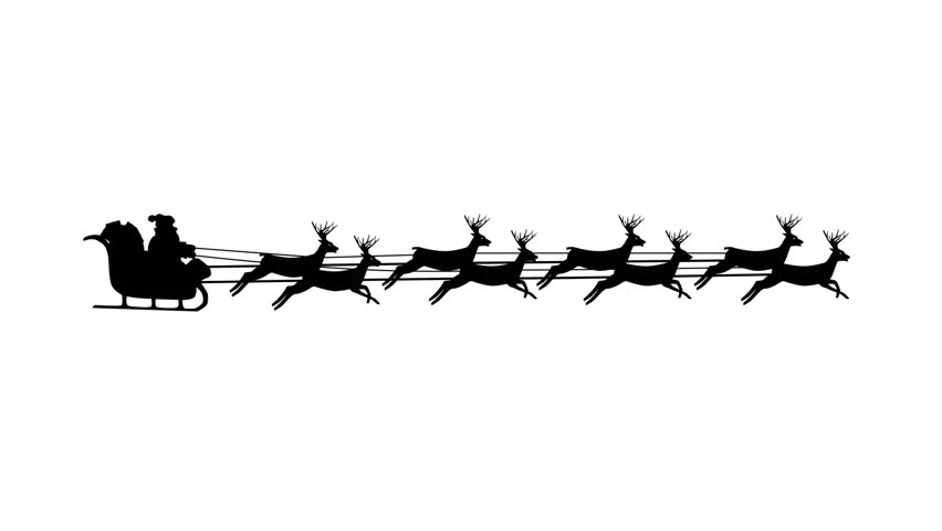Santa Claus riding in a sleigh with reindeer, 8 deers, Christmas looping (seamless) silhouette animation video.