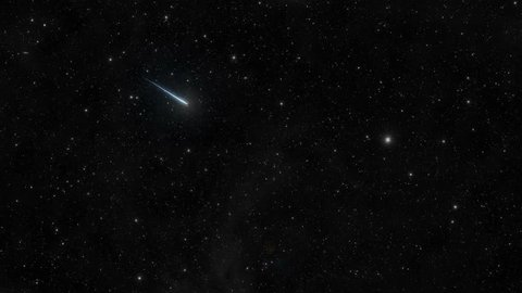 A meteor, or shooting star, illuminates the sky.  uhd 4k