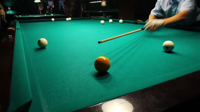 Playing Pool, Hitting The Ball Closeup View   HD Stock Video Clip
