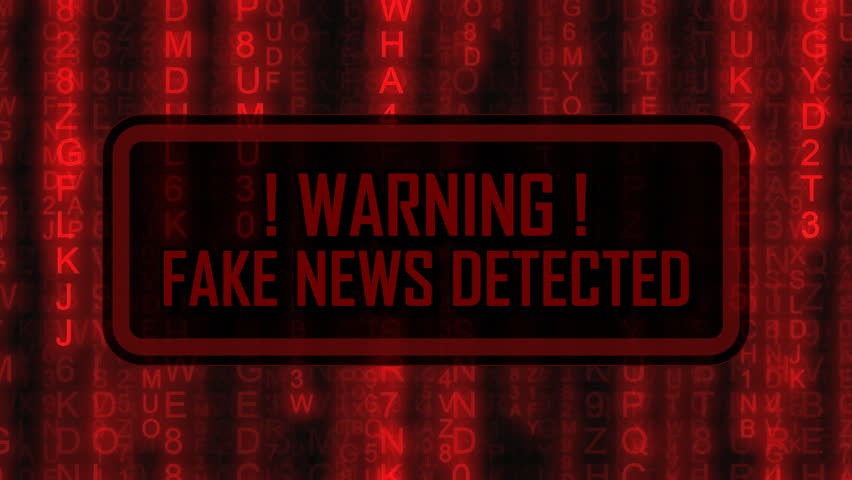 The text Warning, fake news detected, appearing on a board over random symbols falling down (code rain, a popular sci-fi movie effect), changing their color from green to red.