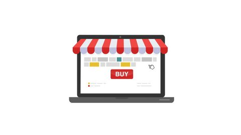 Online shop. Digital Marketing, store, E-commerce shopping concept. Striped awning, laptop screen buy.