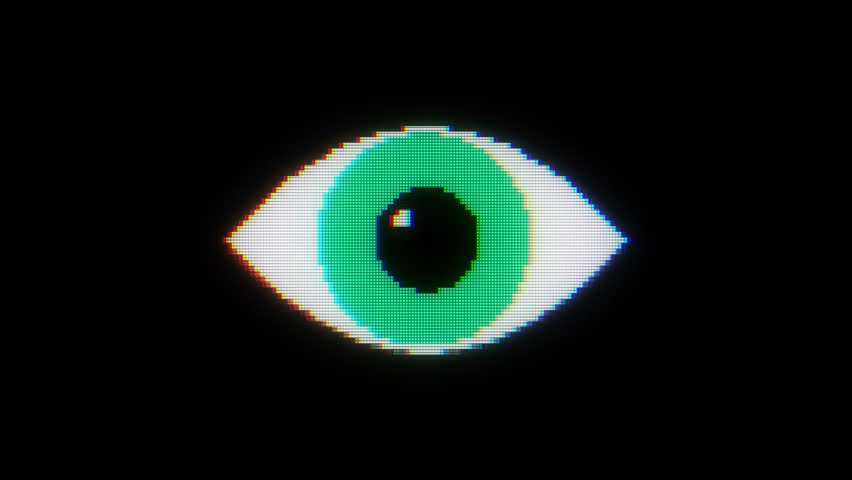 Green pixel eye symbol on glitch lcd led screen display background animation seamless loop ... New quality universal close up vintage dynamic animated colorful joyful cool video footage | Shutterstock HD Video #33477736
