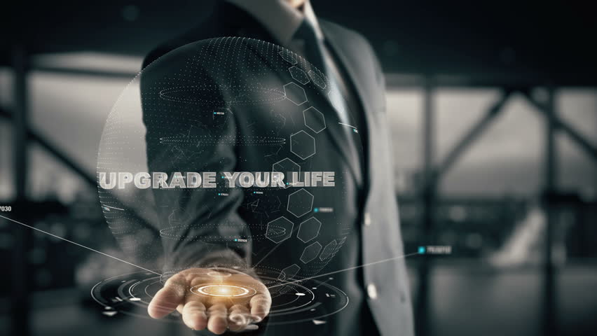 Upgrade your life with hologram businessman concept