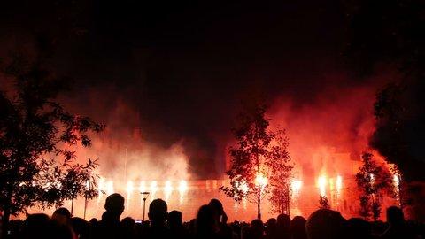 France, Nantes, Castle - 14th july, Bastille Day - Fireworks along the walls