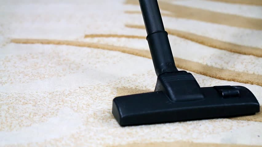 Cleaning The Wool Carpet With An Industrial Vacuum Cleaner