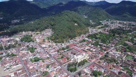 Antigua Cityscape. One of the most popular city in Guatemala. Antigua is surrounded by volcanoes. Spanish Baroque-influenced architecture as well as a number of ruins of colonial churches