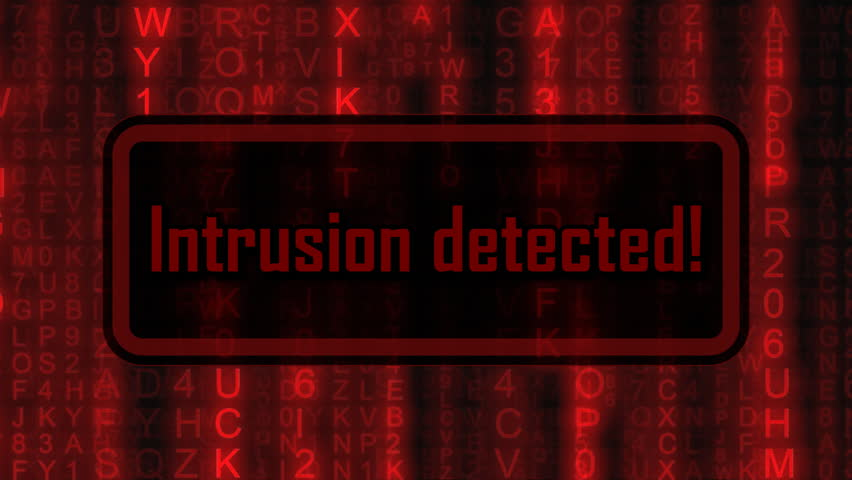 The text Intrusion detected, appearing on a board over random symbols falling down (code rain, a popular sci-fi movie effect), changing their color from green to red.