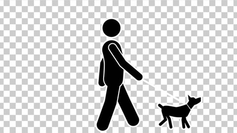 Black Stick Figure Walk With Dog with Alpha Matte