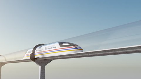 Concept of hyperloop. High-speed white passenger train moves in transparent glass tunnel against a background of blue sky, seamless, looping element