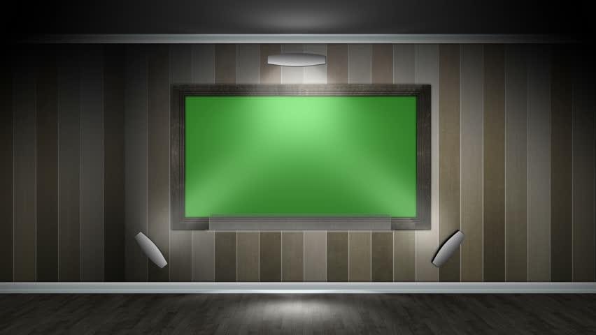 Green Screen Tv In A Living Room Still Side Shot Stock
