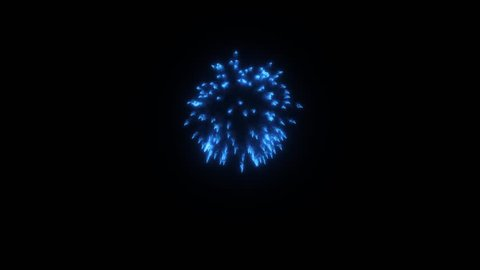 Colorful single firework at night. Spectacular single Blue Deep Skyblue firework firecrackers with smoke trace 3d render.