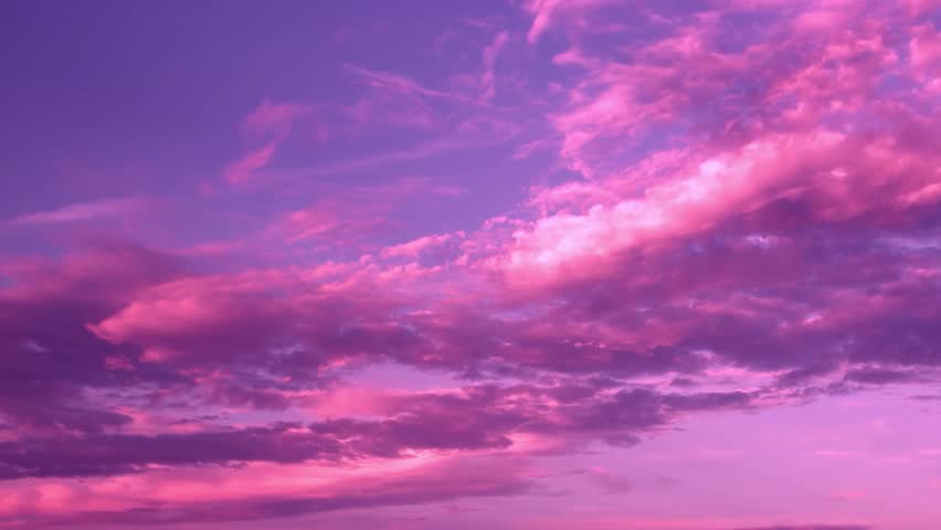 Nature clouds, time lapse real pink fast moving, purple skies over cloudy day, nature sunset time, Beautiful blue color in the evening sun weather.