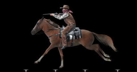 Cowboy with a gun on horseback. Rider galloping on a brown horse. Animation is isolated and cyclic. Alpha channel is included.