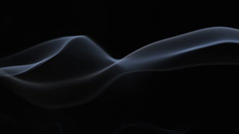 White tobacco smoke line cloud on black background 4k slow-motion video with copy space. Smoking wave floating steaming: cigarette, cigar, vaping, pipe. Nicotine addiction
