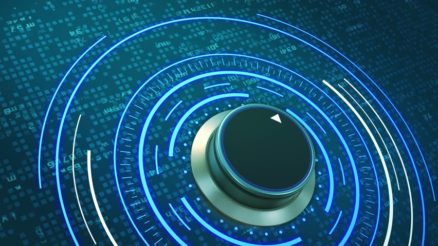 Futuristic hud with a rotating knob and random letters that form the word: quality (3d render) | Shutterstock HD Video #33673966