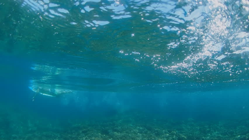 POV underwater ocean waves rolling into reef in French Polynesia Tahiti #33680626