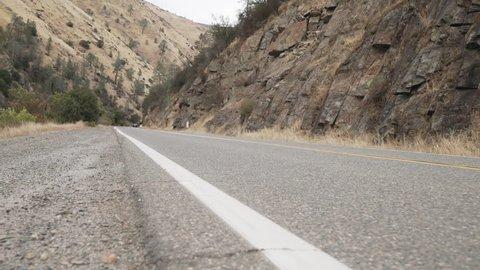 gimbal forward shot of road near merced river