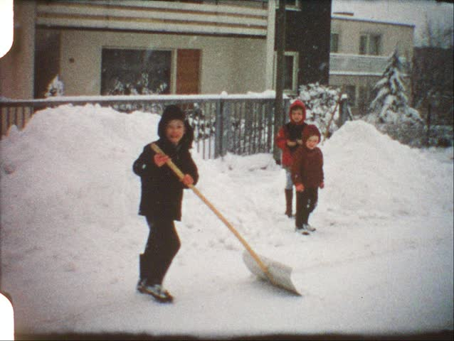 Vintage 8 mm film: Children playing in winter | Shutterstock HD Video #3372662