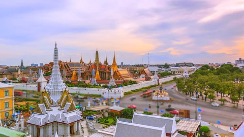 4K Time lapse Wat Phra Kaeo or Temple of the Emerald Buddha landmark of Bangkok, Thailand