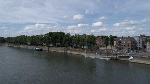Aerial shot of Dutch IJssel river at Deventer waterfront