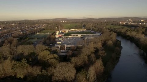 CARDIFF, WALES - 2017: Aerial view of the Welsh Cricket Stadium in Cardiff, the SWALEC.
