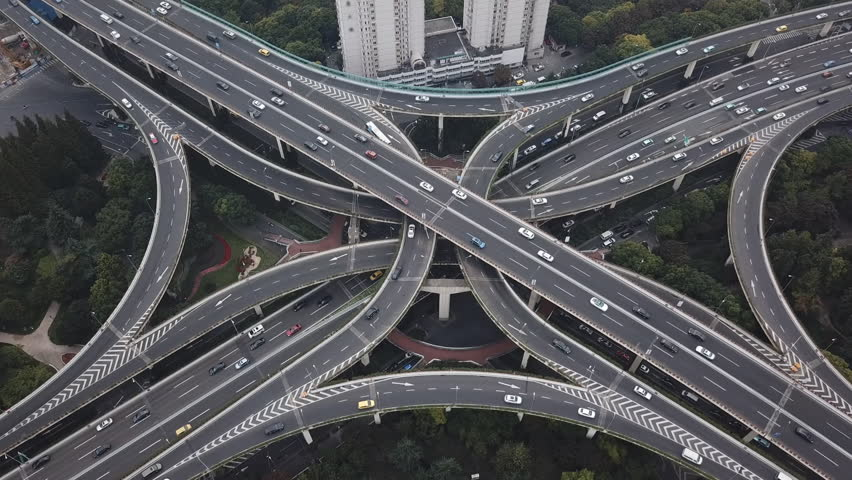 Aerial hyperlapse video of highway traffic in Shanghai