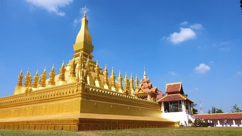 Beautiful architecture at Pha That Luang, Vientiane capital, Laos. Pha That Luang is a gold-covered large Buddhist stupa and be the most important national monument in Laos