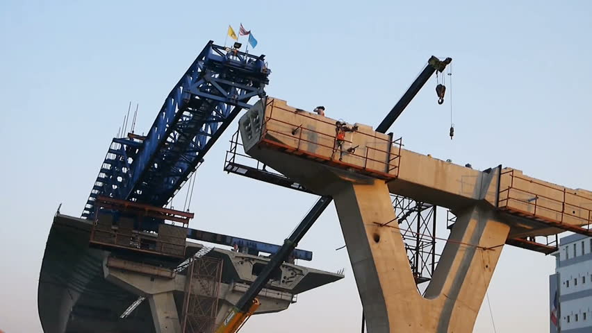 Bridge Girder Erection Machine for Highway construction working with crane at construction site
