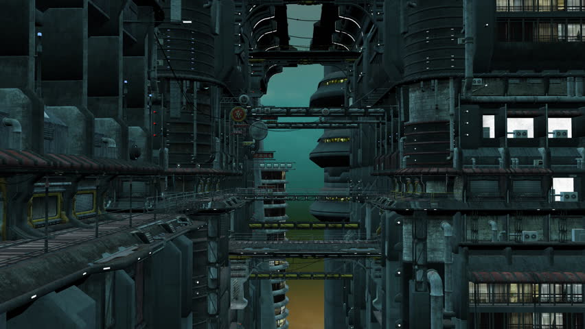 Flight through a futuristic city. Animation in the style of cyberpunk | Shutterstock HD Video #33803746