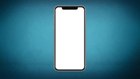 4K Illustration of Modern Fullscreen Smartphone, Mobile Design Blue Gradient