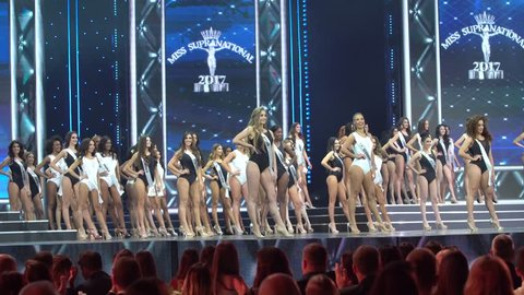 Krinica, Poland - December 01, 2017 ; Miss Supranational 2017, Final Round of World Contest for Most Beautiful woman in the World at Hotel Krinica, One Piece Swimwear sexy session