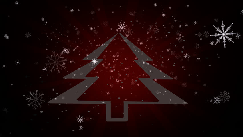 Snowflakes background.Falling Snowflakes Loop.Snow Background.Ice background. Background for media.Alpha channel. Christmas tree 4K animation.