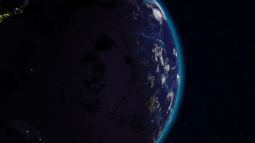Realistic Earth rotating in space (loop). On the planet Earth is visible the change of day and night, with the correct rotation in the seamless loop. There are cities with night lighting | Shutterstock HD Video #33898276