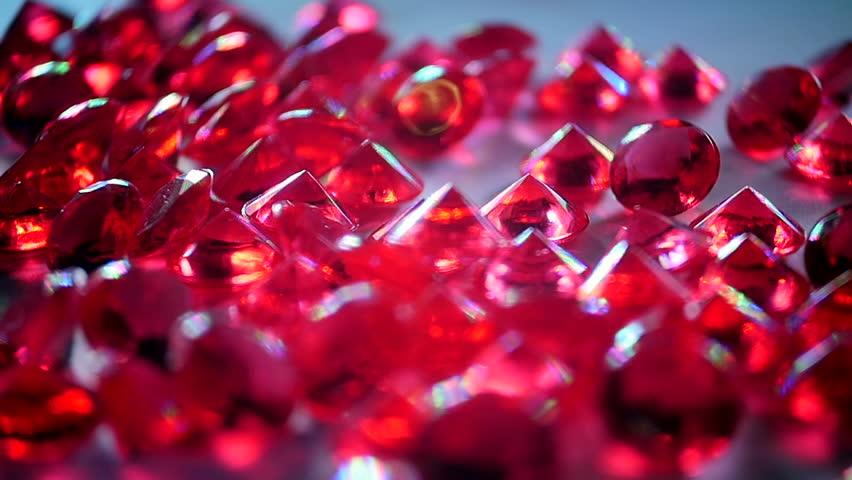 Rubies. Precious Stones.   Slow Motion