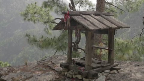 Small wooden temple in the mountains
