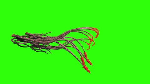 Monstrous Hooked Tentacles Attack Side Green Screen 3D Rendering Animation